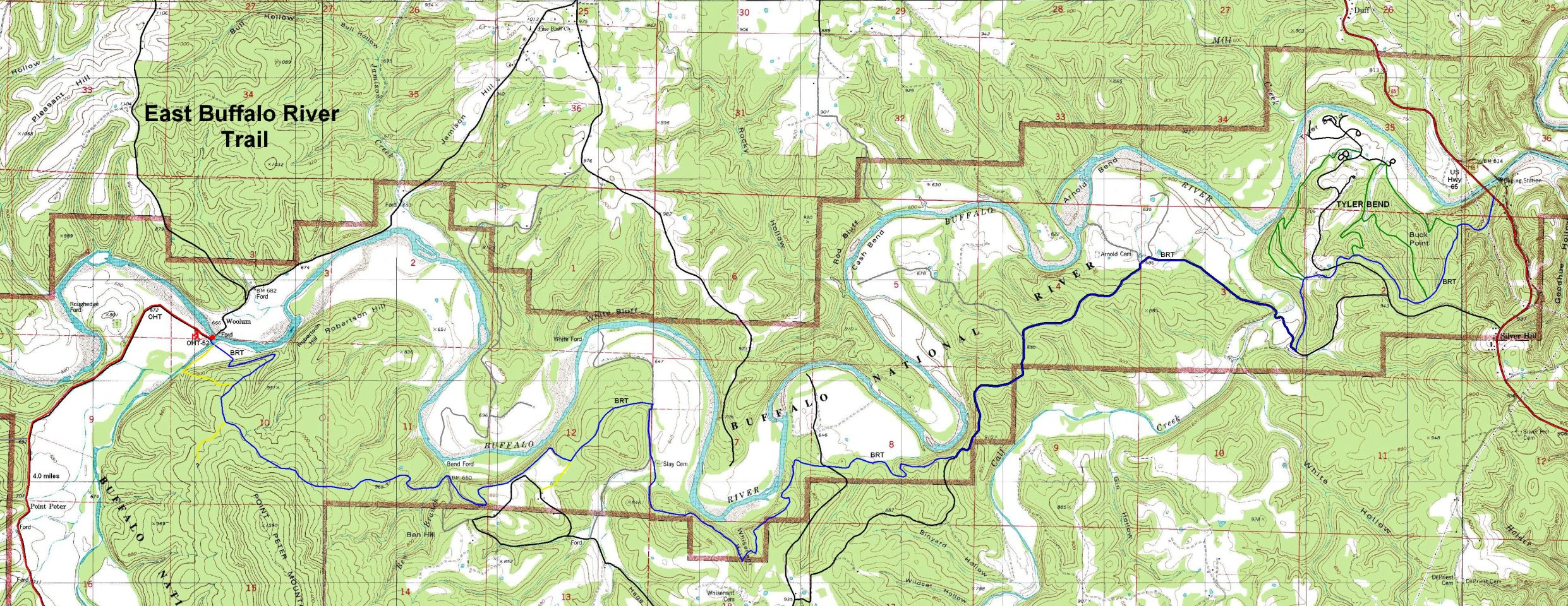Buffalo River Trail Eastern Section Free Detailed Topo Map - Topographical map eastern us
